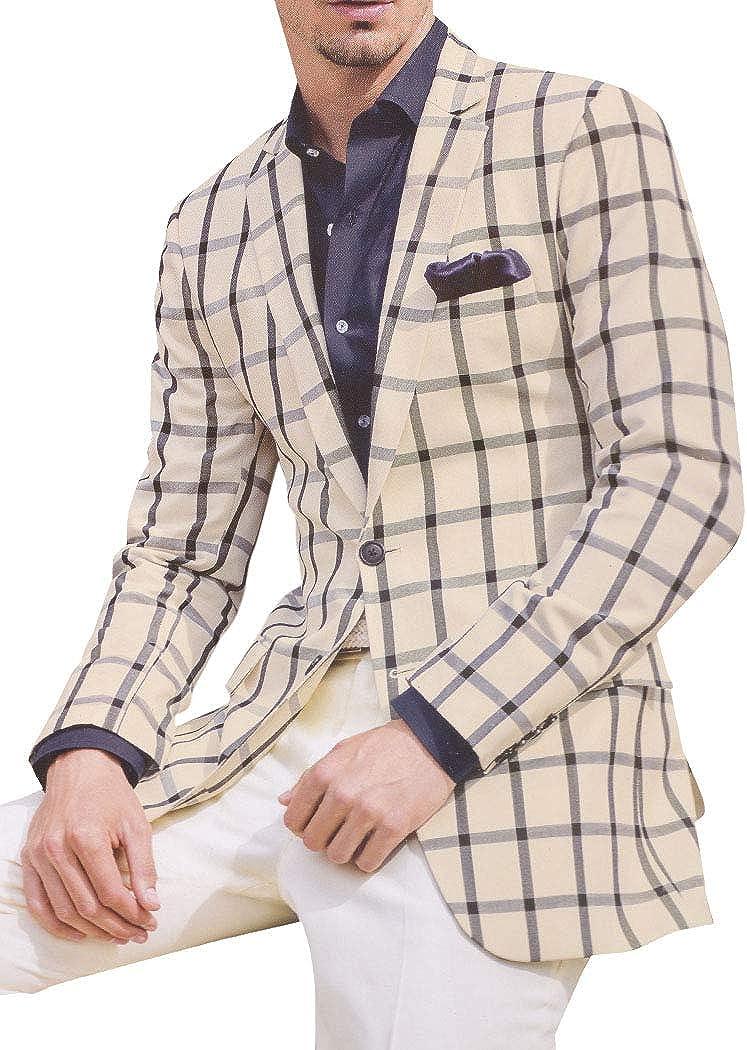 INMONARCH Mens Casual Ivory Checks Blazer Sport Jacket Coat SBN17031L40 40 Long Cream