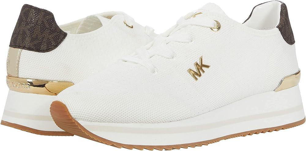 Michael kors monique scarpe sneakers per donna in pelle e tessuto 43F1MQFSAD-085