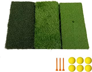 Golf Hitting Mat Portable Golf Practice Mats with Tri-Turf 3 in 1 Realistic Grass Golf Swing Pad Foldable Chipping Driving Training Aids for Backyard Outdoor Indoor Play (Free 6 Balls and 3 Tees)