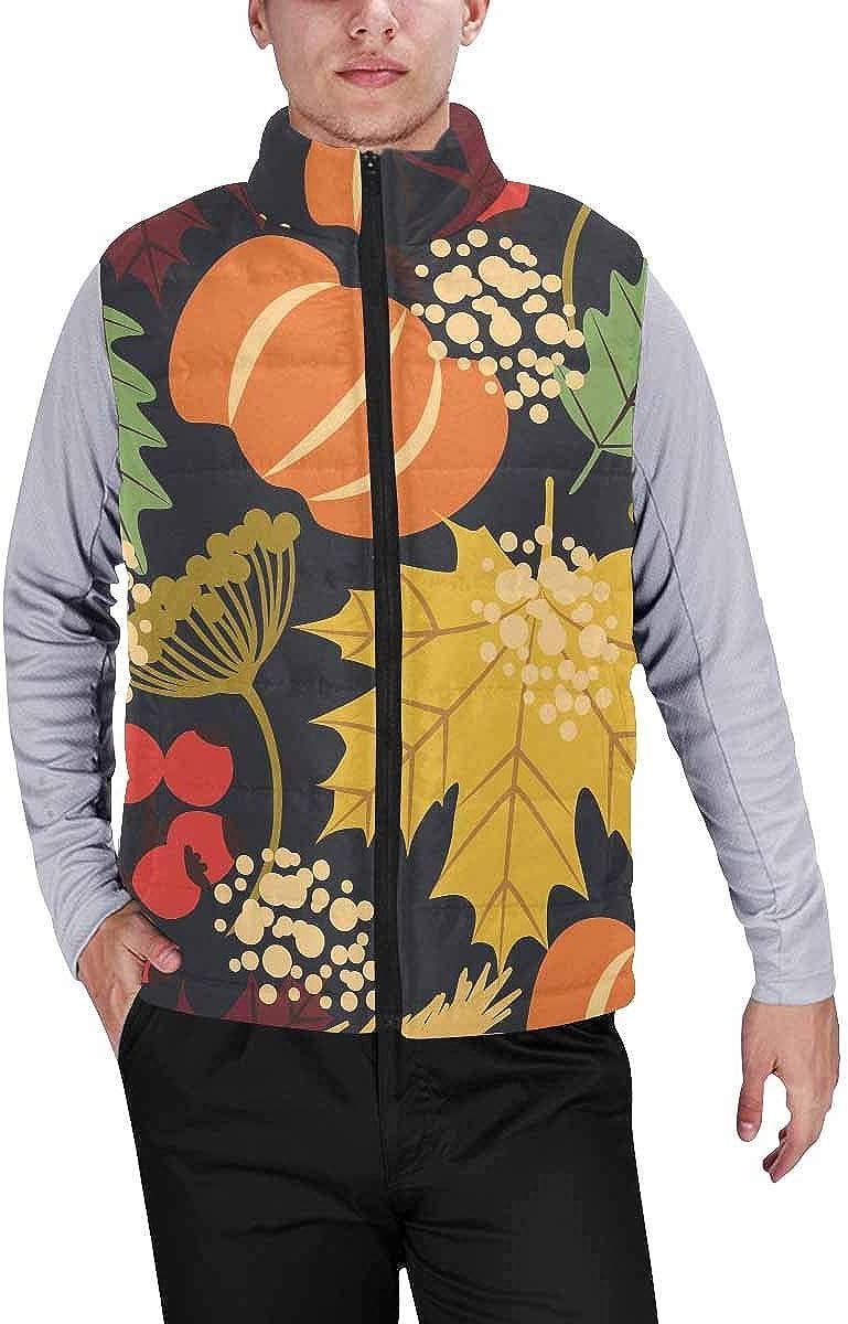 InterestPrint Casual Classic Quilted Sleeveless Vest for Men Halloween Pumpkins Decorations S