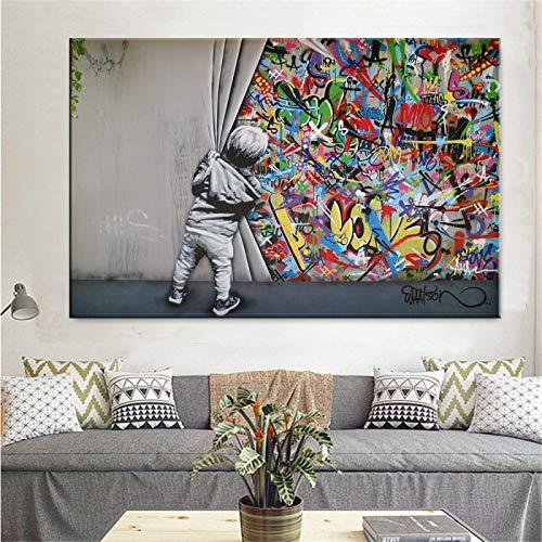 HYFBH Wandkunst Leinwand Street Art Ziehen Sie den Vorhang Graffiti Poster Kinderzimmer Graffiti Malerei Kind Baby Zimmer Dekor Bild 59x90cm (23x39in) Ungerahmt