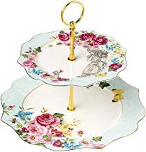 Linlins Elegant Bone China Rose Pattern 2-tier Cake Stand/Cupcake Stand/Pastry Serving Cake Stand In Gift Box