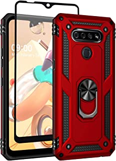 SunRemex LG K51 Case with Tempered Glass Screen Protector. LG Q51 Case Kickstand [ Military Grade ] 15ft. Drop Tested Protective Case Cover for LG K51/LG Q51 Phone. (Red)