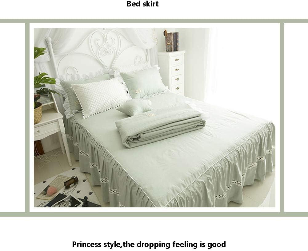 Youlubedding Literie Simple, Trois pièces, Jupe de lit en Coton de Style Princesse à la Mode élégante,Green Green