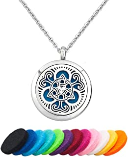 LoEnMe Jewelry Aromatherapy Essential Oil Diffuser Necklace Cross Celtic Star of David Locket Pendant Women Men