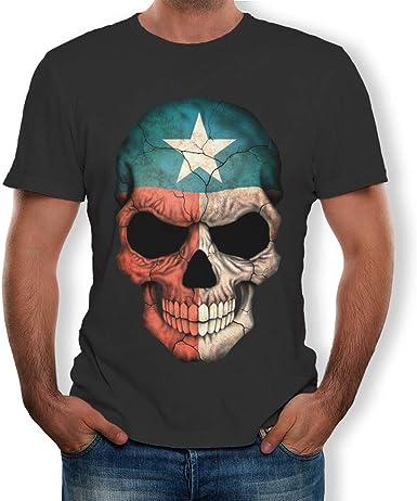 MEIbax Camisetas para Hombre de algodón de Manga Corta con Personalidad Calavera Pintada Impresión Estampado Cuello Redondo Causal Talla Grande ...