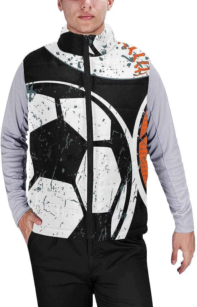 InterestPrint Men's Outdoor Casual Stand Collar Padded Vest Coats Spaceman