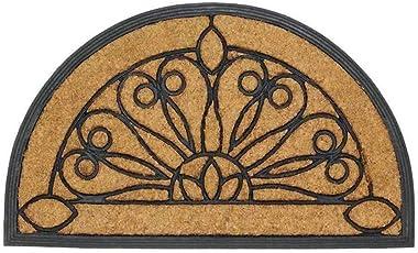 WX&QIANG Barrier Mat,Heavy Duty Non Slip Backing/Dirt Trapper Mats ,Natural Coir Fiber,Classical Semicircle Carpet Doorma