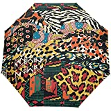 Vintage Leopard Polka Dots Tropical Hippie Auto Open Umbrella Sun Rain Umbrella Anti UV Folding Compact Automatic Paraguas