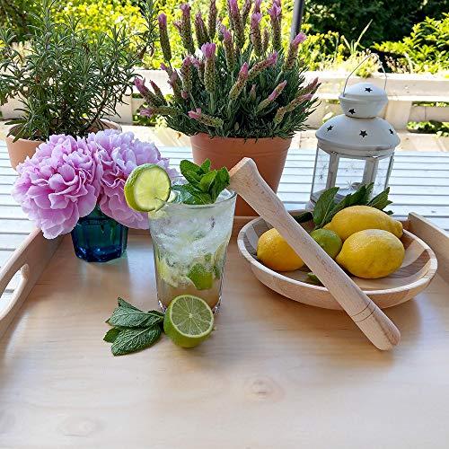 10x HOFMEISTER® Cocktail-Stößel aus Holz für Caipirinha & alle Drinks, 22 cm, Barstößel für große Gläser, zerstößt Limetten & Eiswürfel, Keine Kratzer im Glas, Made in EU - 2
