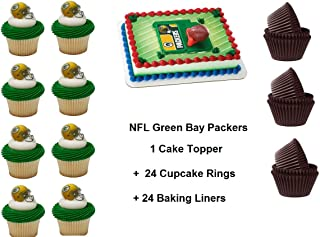 Green Bay Packers Football Cake Topper Set Cupcake 24 Pieces plus 24 Cupcake Baking Liners 49 PCS