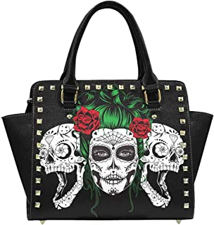 Women's Day of the Dead Traditional Mexican Sugar Skull Flowers Rivet Shoulder Handbag Tote Bags Wallets