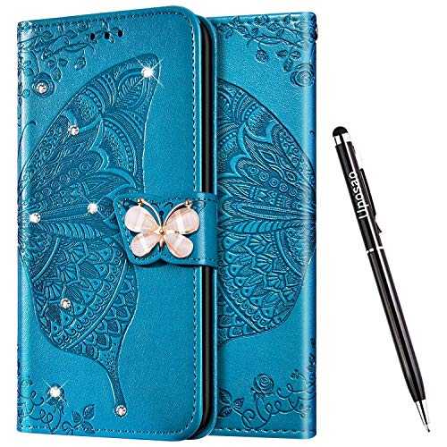 Uposao Kompatibel mit Samsung Galaxy S9 Hülle Glänzend Bling Glitzer Diamant Handyhülle Schmetterling Blume Schutzhülle Leder Hülle Klapphülle Wallet Flip Case Ständer Kartenfächer,Blau
