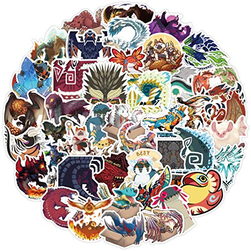 50Pack Monster Hunter Stickers for Laptop and computer, Anime Cartoon Waterproof Vinyl Stickers for Water Bottle Hydro Flask Car Bumper Luggage,Cute Graffiti Decals for Teens Girls Boys Adults (Monster Hunter)