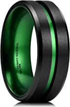 King Will Duo 8mm Mens Green/Red/Purple Plated Black Tungsten Carbide Wedding Ring Grooved Center Matte Finish
