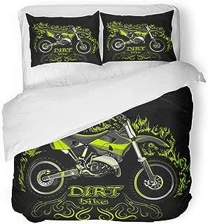 Emvency Bedding Duvet Cover Set Full/Queen (1 Duvet Cover + 2 Pillowcase) Motocross Dirt Bike On Black in The Green Naturalistic Fire Freestyle Motorcross Hotel Quality Wrinkle and Stain Resistant