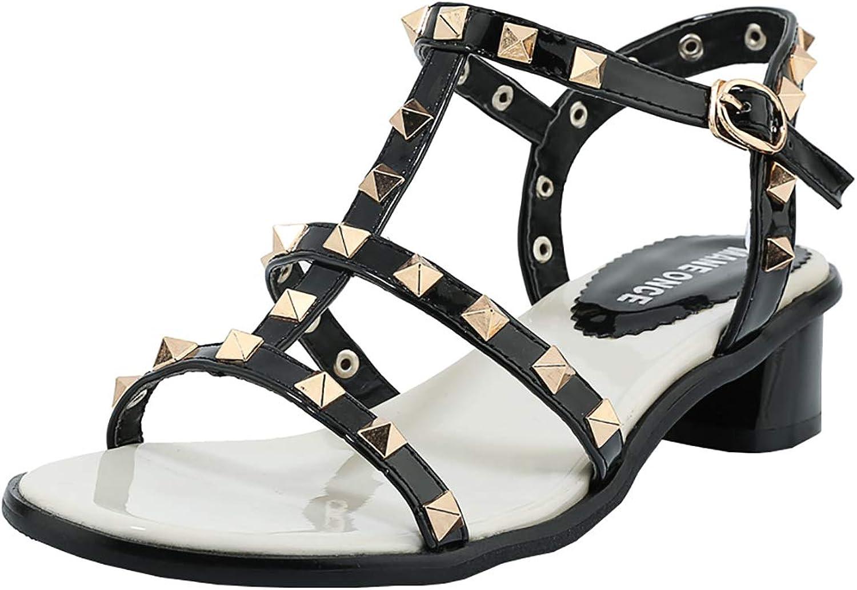 Artfaerie Womens gold Rivets Stud Gladiator Flats Open Toe Buckle Low Heel Strappy Beach Sandals