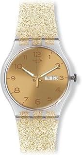 Swatch Golden Dial Golden Sparkle Silicone Ladies Watch SUOK704