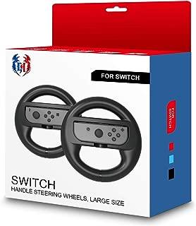 GH 大型サイズの成人向け Switch マリオカート 8 デラックス ハンドル , Nintendo スイッチ ジョイコン (Joy-Con) コントローラー 専用 2個 セット(黒2)