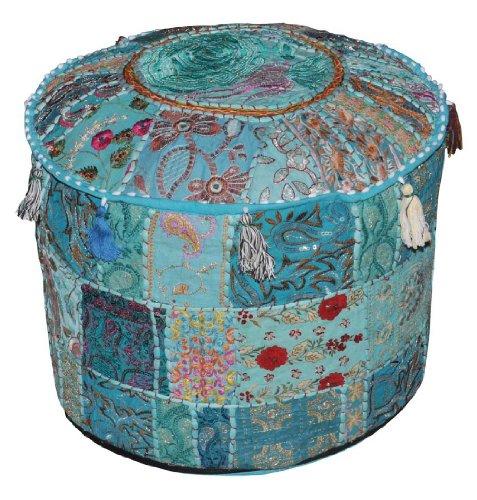 Indiano Comodo Cuscino da terra in cotone ottomano copertina impreziosita da patchwork e ricamo Lavoro, 46 x 33 cm