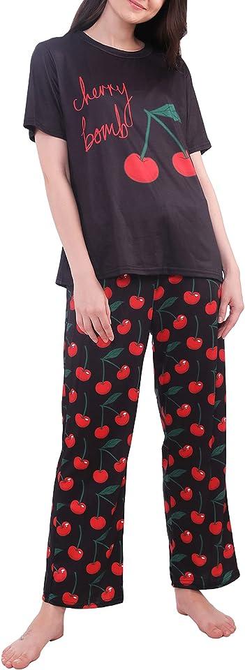 Cute Ladies Pyjamas Set Print, 2 Piece Womens Pyjama Sets Nightwear, Soft Pjs for Ladies XS-XXL, 6-28