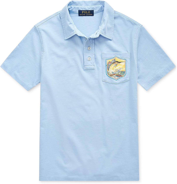 Polo Ralph Lauren Boy's Marlin Cotton Jersey Polo Shirt M Medium 10-12 Blue