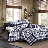 MI ZONE Cozy Quilt Set, Casual Modern Design, All Season Teen Bedding Coverlet Bedspread, Decorative Pillow, Boys Bedroom Décor, Full/Queen, Elliot Blue, 4 Piece