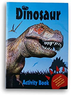 Dinosaurs Coloring and Activity Book Packed with Fun Facts, Puzzles and Activities - 32 Pages (Blue)