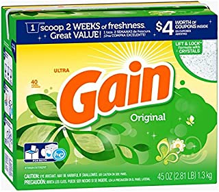 Gain Ultra Original Scent High Efficiency Powder Laundry Detergent, 45 Ounce