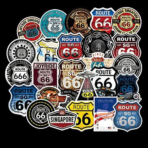 LVLUO Etiqueta engomada de la Historieta de la Ruta 66 Etiqueta engomada del Juguete del Casco del Equipaje del monopatín del Ordenador portátil 50pcs