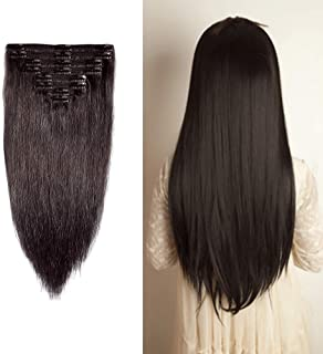 "Double Weft 100% Remy Human Hair Clip in Extensions 10''-22'' Grade 7A Quality Full Head Soft Silky Straight 8pcs 18clips Off Black (14"" / 14 inch 120g,#1B Natural Black)"