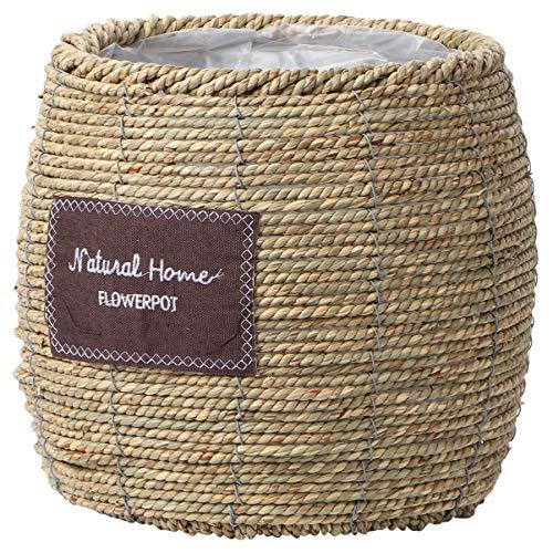 Cabilock Panier de Fleurs en Rotin Herbe Vigne Tissé Pot de Fleurs à La Main Récipient de Vase Succulent pour La Maison (Ventre Grande Taille)
