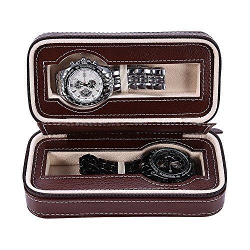 Estuche de Madera para Relojes, Caja de Relojes con 2 Ranuras, Tapa de Vidrio, Almohadillas Extraíbles, Cierre de Metal, Caja para Almacenamiento Relojes Soporte