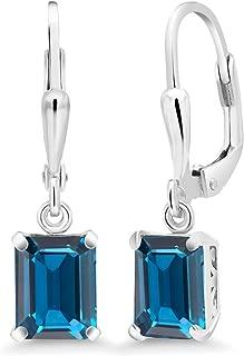 925 Sterling Silver London Blue Topaz Earrings 3.97 Cttw Gemstone Birthstone Emerald Cut 8X6MM