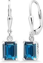 Gem Stone King 925 Sterling Silver London Blue Topaz Earrings 3.97 Cttw Gemstone Birthstone Emerald Cut 8X6MM