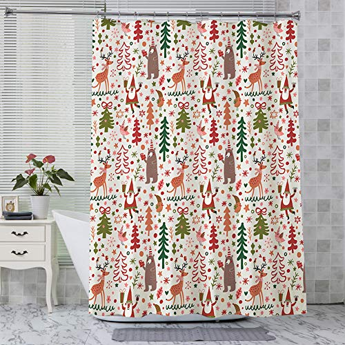 AmazerBath Christmas Fabric Shower Curtain, Happy Christmas Trees and Elk Polyester Fabric Shower Curtains Decorative Curtains for Bathroom Hotel Quality, 72 X 72 Inches