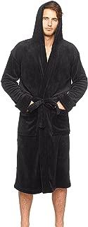 Men's Lightweight Plush Fleece Hooded Spa Robe
