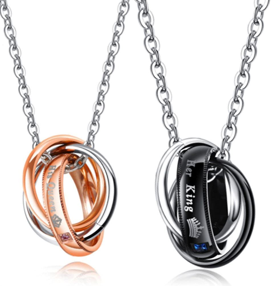 Blowin Men's Womens Stainelss Steel Queen King Crown Ring Pendant Necklace Christmas Valentine