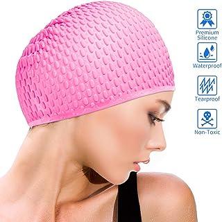 Idefair - Gorro de natación de silicona antideslizante para adultos, unisex, para adultos, hombres, ajuste cómodo para cabello largo y pelo corto