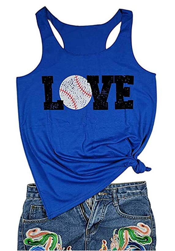 Baseball Tank Tops Women Love Letter Print Vest Sleeveless Baseball Graphic Print T Shirt