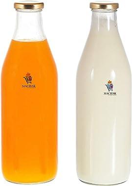 Machak Milk, Water & Juice Glass Bottle with Lid, 1 Litre, Clear (Set of 2)