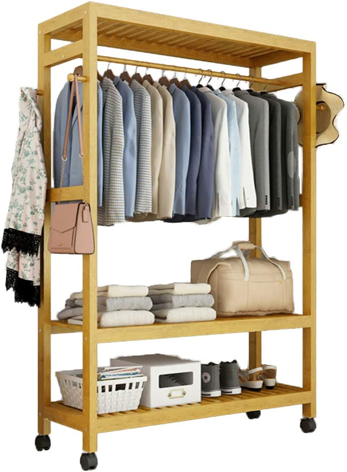 Multipurpose Bamboo Entryway Coat Rack with Shelf, Premium Coat Stand shoes Rack, with Roller Heavy Duty Hall Home-H 99x30x165cm(39x12x65inch)