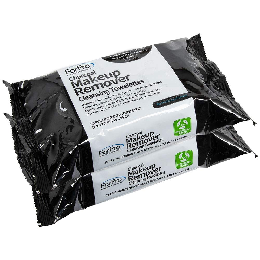 ForPro Charcoal Makeup Remover Oil-Free Cleansing 5 Bombing new work Towelettes outlet