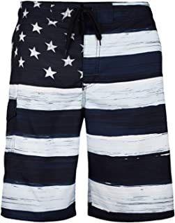 66f1a8e67f VBRANDED Men's American Flag Patriotic Board Shorts (Assorted Designs)