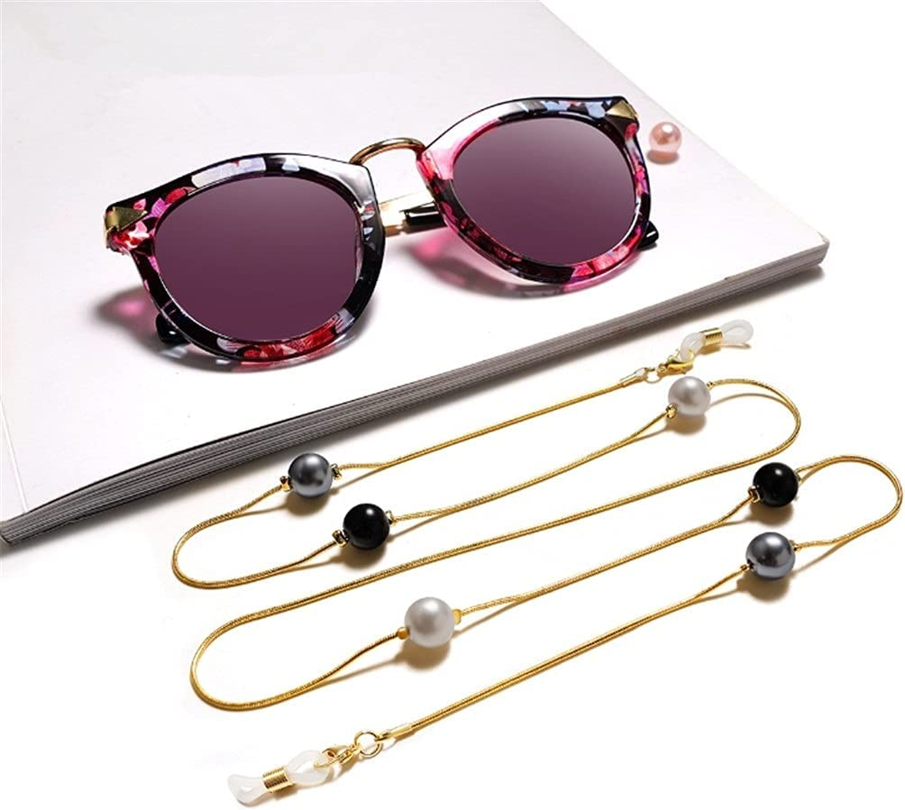 WJCCY Bohemia Three-Color Imitation Pearl Cords Reading Glasses Chain Women Sunglasses Accessories Lanyard Hold Straps (Color : A, Size : Length-70CM)