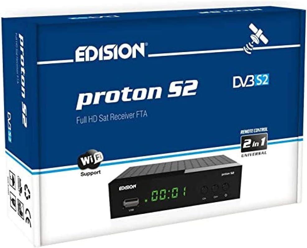 EDISION PROTON S2, DVB-S2 Receptor de satélite digital FTA, WiFi support, USB, HDMI, SCART, Mando a distancia universal 2en1