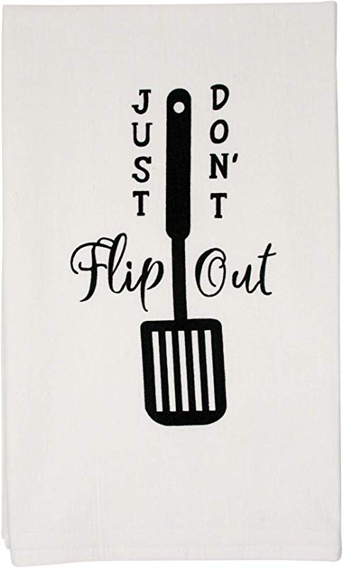 Nino And Baddow Just Don T Flip Out Funny Dishcloth Tea Towel Screen Printed Flour Sack Cotton Kitchen Table Linens