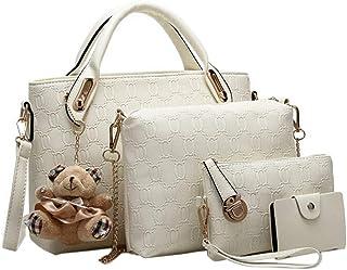 Flyme Women Tote Shoulder Bag Pu Leather Handbag Set (White, 7pcs)