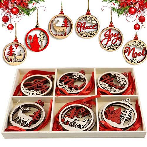 Ciondolo in Legno di Natale CHEPL 18 Pezzi Natalizi Addobbi Albero Ornamento in Legno Decorativi per Albero di Natale Fai da Te