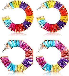 2 Pairs Colorful Statement Earrings Handmade Rainbow Rattan Earrings Bohemian Lightweight Drop Dangle Summer Earrings for Women Girls